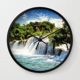 Waterfall summer river Krka National Park Croatia Wall Clock