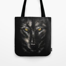 hand-drawing portrait of a black wolf on a black background Tote Bag