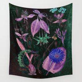Botanical Study #3, Vintage Botanical Illustration Collage Art Wall Tapestry