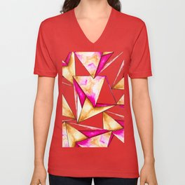 Pink gold yellow watercolor triangles pattern Unisex V-Neck