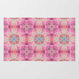 Pink Peach and Blue Pretty Gothic Stained Glass Tile Rug