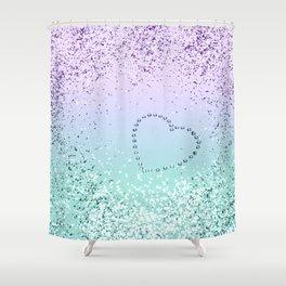 Sparkling MERMAID Girls Glitter Heart #1 #decor #art #society6 Shower Curtain