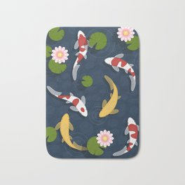 Japanese Koi Fish Pond Bath Mat