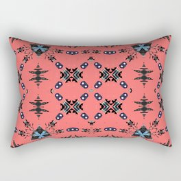 Modern Micro Coral Turquoise Tribal Rectangular Pillow