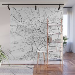 Krakow Map, Poland - Black and White Wall Mural