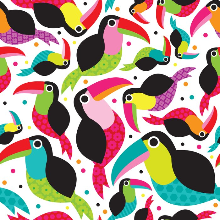 Cute colorful patchwork tucan illustration pattern Comforters