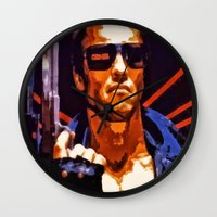 terminator Wall Clocks featuring The Terminator by Joe Misrasi