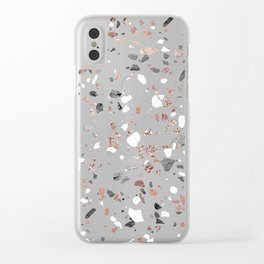 Pink Quartz and Marble Terrazzo Clear iPhone Case