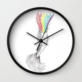 mermaid rainbow Wall Clock