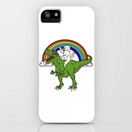 Great Pyrenees Riding T-Rex Dinosaur  iPhone Case