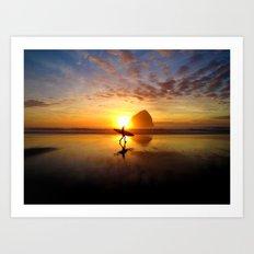 Surfer at Sunset Art Print
