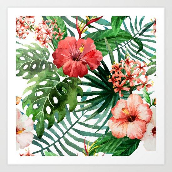 Tropical Floral Watercolor Var. 5 Art Print