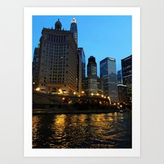 Chicago River and Buildings at Dusk Color Photo Art Print