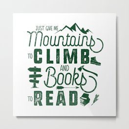 Mountains & Books Metal Print