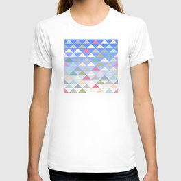 Colorful Pyramids Floating In the Blue Sky Pattern T-shirt