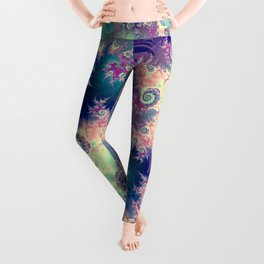 Violet Teal Sea Shells, Abstract Underwater Forest  Leggings