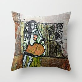 Seclusion - Mixed Media Pebeo Abstract Modern Art, 2015 Throw Pillow