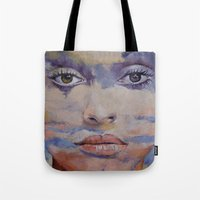 mona lisa Tote Bags featuring Mona Lisa by Michael Creese