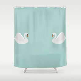 white swan on dusty aqua Shower Curtain