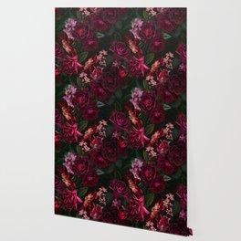 Vintage & Shabby Chic - Night Botanical Flower Roses Garden Wallpaper
