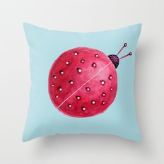 Spherical Abstract Watercolor Ladybug Throw Pillow