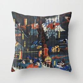 Soga no Adauchi by Utagawa Yoshikazu (1848-1863) a traditional Japanese ukiyo-e style diptych of a s Throw Pillow