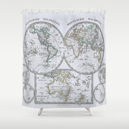 Vintage Map of The World (1862) Shower Curtain