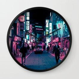 Shimmering Neon Lights of Tokyo Wall Clock
