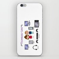 technology iPhone & iPod Skins featuring Technology Love by Juliana Motzko