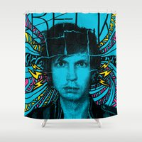 cassia beck Shower Curtains featuring Beck Hell Yes by Matt Crave
