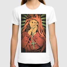 Virgin Mary (In color) White Womens Fitted Tee LARGE