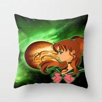 sailor jupiter Throw Pillows featuring Sailor Jupiter by Maren Lex