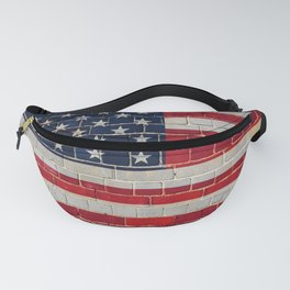 America flag on a brick wall Fanny Pack