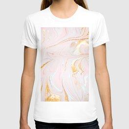 Pink marble with golden swirls pattern T-shirt