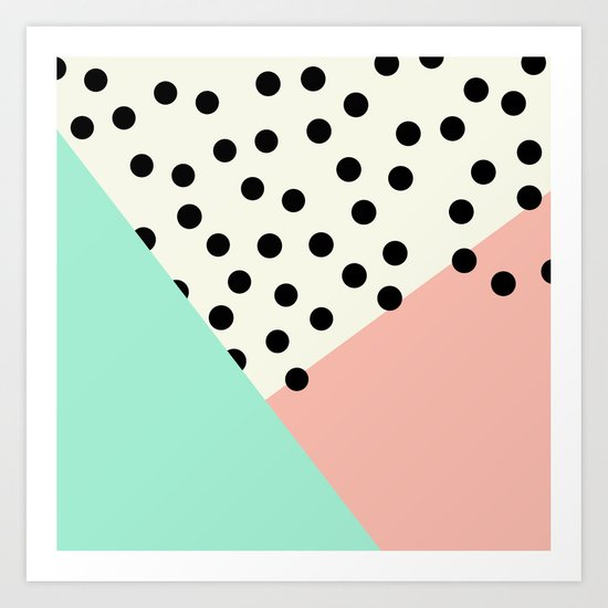 Mod Blush and Dots Art Print