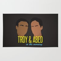 caleb troy Area & Throw Rugs featuring Troy & Abed In The Morning - Community by Tino-George