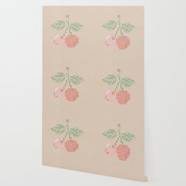 Cherry cross stitch Wallpaper