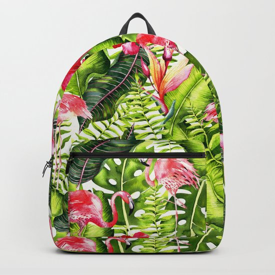 Aloha- Tropical Flamingo Bird and Hibiscus Palm Leaves Garden by #UtART Backpack