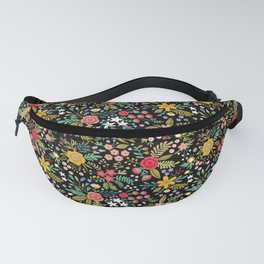 Amazing floral pattern with bright colorful flowers, plants, branches and berries on a black backgro Fanny Pack