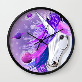 Unicorn Spirit Pink and Purple Mythical Creature Wall Clock