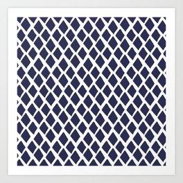 Rhombus Blue And White Art Print