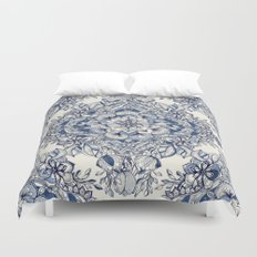 Floral Diamond Doodle in Dark Blue and Cream Duvet Cover