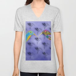 Fantasy birdies pattern Unisex V-Neck