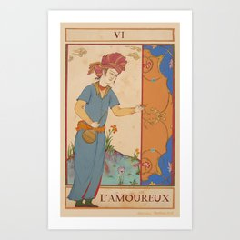Tarot Card-L'Amoureux-Lovers Art Print