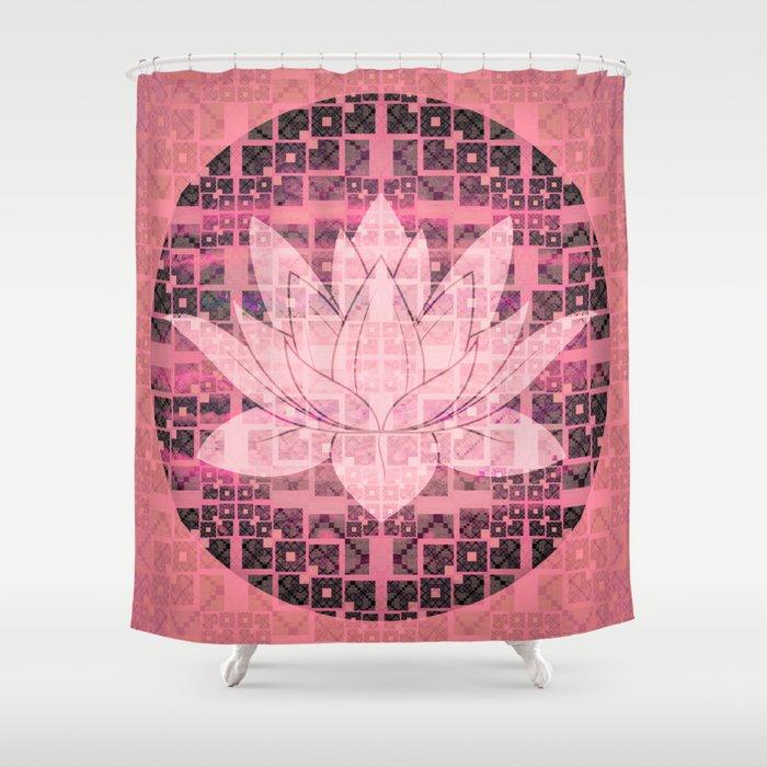 Pink Luminous Techno Lotus Shower Curtain