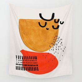 Summer Sun Mid Century Modern Abstract Minimalist Retro Vintage Style Fun Playful Yellow Ochre Orange Shapes Wall Tapestry