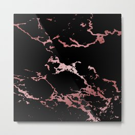 Black Rose Gold Marble Metal Print