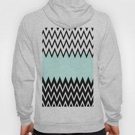 Modern black white teal stylish chevron pattern  Hoody
