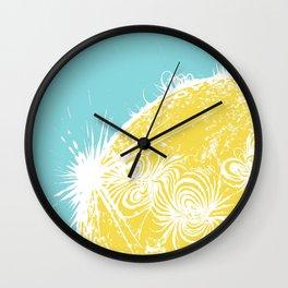 Large Sun Print, blue & yellow solar design by Little Lark Wall Clock