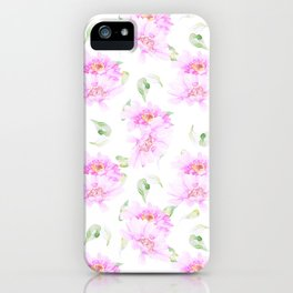 Hand painted pink lavender green watercolor floral iPhone Case